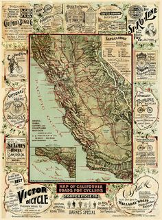 Old California Map California Bicycle Map 1895 Vintage California map cycling map Antique California wall Map Fine art Print Poster decor by VintageImageryX Vintage Maps, Antique Maps, Vintage Posters, Wall Art Prints, Fine Art Prints, Poster Prints, Print Map, Giclee Print, Art Posters