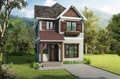Cleverly-Designed Narrow Lot House Plan - 17805LV | Architectural Designs - House Plans