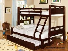 Furniture of America Chessin Dark Walnut Bunk Bed with Built-In Bookcase Headboard - Overstock™ Shopping - Great Deals on Furniture of America Kids' Beds Twin Full Bunk Bed, Full Size Bunk Beds, Bunk Beds For Boys Room, Bunk Beds With Storage, Wood Bunk Beds, Bunk Bed With Trundle, Modern Bunk Beds, Bunk Beds With Stairs, Bed Storage