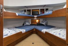 Nordic Tugs Nordic Tug 49: The forward cabin is, perhaps, the most unusual aspect of this boat. We applaud the owners of this vessel for opting for this layout which maximizes the utility of the space. It also means the boat can sleep 10 people.