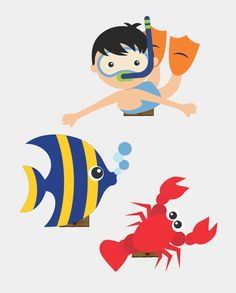 Under the sea cake toppers Sea creatures printable topper Nautical cupcake toppers Sea animals baby birthday Under the sea party - DIGITAL Sea Drawing, Baby Drawing, Under The Sea Theme, Under The Sea Party, Anime Animals, Baby Animals, Nautical Cupcake, Swimming Party Ideas, School Murals