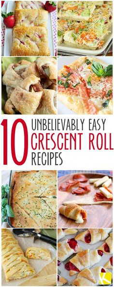 10 Unbelievably Easy Crescent Roll Recipes - The Krazy Coupon Lady Pillsbury Crescent Roll Recipes, Pilsbury Recipes, Cresent Roll Appetizers, Calzone Recipe Crescent Rolls, Recipes With Cresent Rolls, Crescent Roll Ring Recipes, Homemade Stromboli, Chicken Crescent Rolls, Sweets