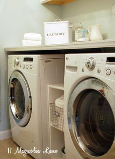 if you have a front loading washer/dryer, it's easy to build a large folding shelf on the top.  Makes folding and sorting SO much easier! {tutorial included}.