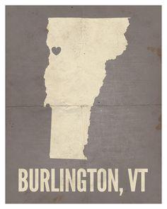"""Burlington, Vermont Love Print, 8"""" x 10""""."""