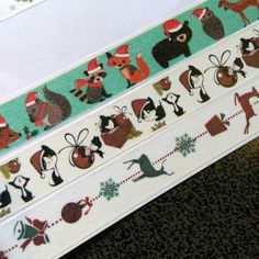 Christmas Forest Animals, Cats, Reindeer Washi Tape Sample