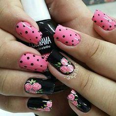 Fall Nail Art Designs, Flower Nail Designs, Gel Nail Designs, Gold Glitter Nails, Pink Nails, Pedicure Nail Art, Nail Manicure, Cute Nails, Pretty Nails