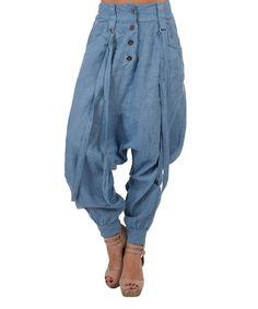 Look at this #zulilyfind! Blue Janice Linen Harem Pants #zulilyfinds