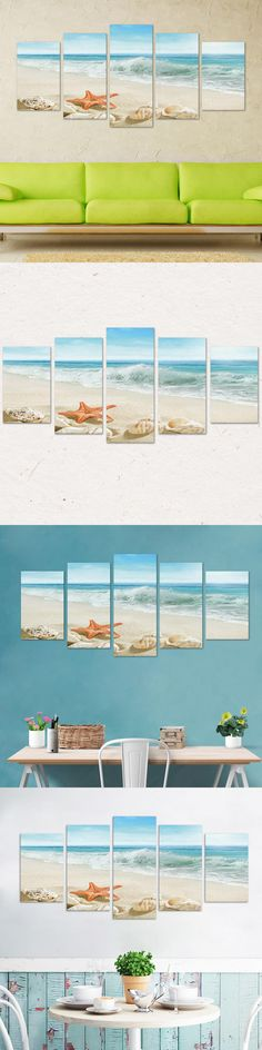 CA Posters Sea beach of hello Summer series 5 Pieces Canvas Art Wall Decoration for Living Room or Bedroom AL18