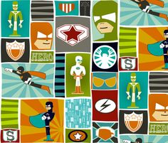Cool Comic Book Heroes fabric by natitys on Spoonflower - custom fabric