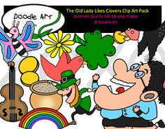 """This """"The Old Lady Likes Clovers"""" Clipart collection includes all the images shown in the sample picture and more. This clipart pack is a parody of the book - There Was an Old Lady Who Swallowed a Clover . This pack includes 32 different clips:* Black line masters of all clips* Old lady (several poses)* Clovers* Gold* Flower* Birds* Butterfly* Leprechaun* Pot* Fiddle* Cute!* etc...Graphics come in PNG format 300 dpi format.My graphics are suitable for printing and digital projects and can…"""
