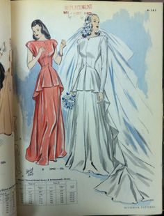 A page from a 1949 Butterick catalog. #butterick #vintagepatterns #vintagebride