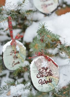Handmade Wood Slice Map Ornaments | The Interior Frugalista