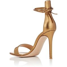 Gianvito Rossi Extended-Counter Ankle-Tie Sandals ($835) ❤ liked on Polyvore featuring shoes, sandals, metallic shoes, high heel sandals, open toe high heel sandals, ankle strap high heel sandals and leather sole sandals