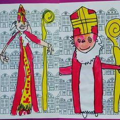 Sinttekening met ecoline Saint Nicolas, Noel Christmas, Winter Time, Diy For Kids, Advent, Zima, Projects To Try, Social Studies, December