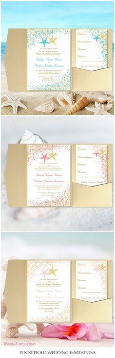 Pocketfold Wedding Invitations, DIY Templates, Beach Confetti