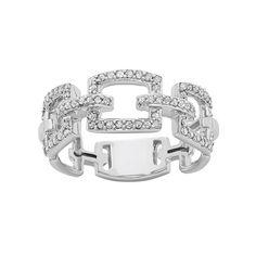 1/3 Carat T.W. Diamond 10k White Gold Chain-Link Ring, Women's, Size: