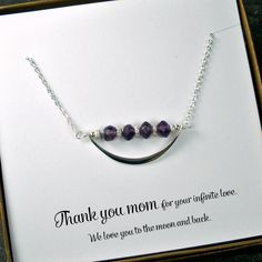 Gift for Mom - Amethyst Gemstone Necklace, Sterling Silver