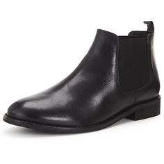 Shoe Box Edury Flat Leather Chelsea Boot (3.415 RUB) ❤ liked on Polyvore featuring shoes, boots, ankle booties, black booties, flat leather booties, black ankle booties, leather chelsea boots and chelsea boots