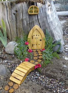 Miniature Garden, Fairy Door, Gnome Door, Hobbit Door, Elf Door, Troll Door. 7 tall Pine door garden kit.. $25.95, via Etsy.