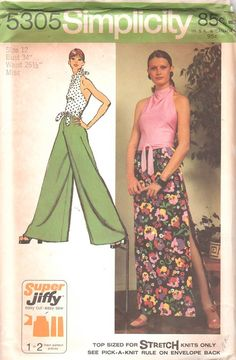 1970s Simplicity 5305  Super Jiffy Misses Halter Top  Pantskirt and Maxi Skirt vintage seiwng pattern by mbchills