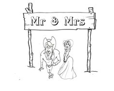 western wedding coloring page