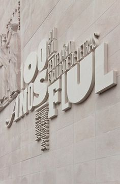 FLUL type treatment on stone Faculty of Arts-University of Lisbon Stand Design, Display Design, Text Design, Wall Design, Fashion Shop Interior, Bridal Boutique Interior, Office Wall Graphics, Wall Text, Wall Logo