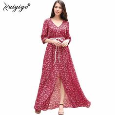 2018 #New #Women #Summer Boho #Dress Ladies Vestidos Female Vintage Floral Print  Long Maxi Dress Plus Size Casual Chiffon Dress -in Dresses from Women's Clothing & Accessories on Aliexpress.com | Alibaba Group