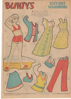 BUNTY Paper Doll Original page from 'Bunty' magazine a British comic anthology for girls published by D. C. Thomson & Co. 1975