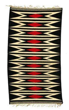 Ville Clemmemsen; Flat-Weave Wool Rug, c1960. Navajo Weaving, Navajo Rugs, Weaving Art, Textiles, Textile Prints, Textile Design, Native American Rugs, Southwestern Home Decor, Felt Fabric