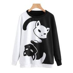 f88ed2141 Autumn Winner Womens Cat Printing Long Sleeve Sweatshirt Pullover Tops  sweatshirt kawaii vadim kpop harajuku sudaderas mujer