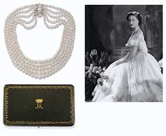 Princess Margaret's ART DECO PEARL AND DIAMOND NECKLACE Comprising five graduated rows of pearls to the vari-cut bombé plaque clasp, mounted in platinum, circa 1925, 39.0 cm. long, Asprey, Given by H.M. Queen Mary to her granddaughter, H.R.H. The Princess Margaret for the 18th Birthday.