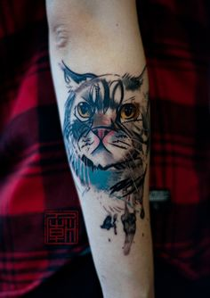 Brushed Cat - artwork and tattoo by Wang www.tattootemple.hk