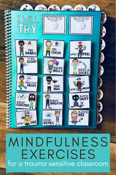 Perfect for teachers to use with students in their Trauma Informed Classroom and Take a Break or Calm Corner space. Also great for parents to use with their kids at home. This Mindfulness Breathing Exercises for Kids Book, Task Cards and More resource teaches 15 different fun and effective mindful breathing techniques, reinforced with illustrations that provide detailed visual support for all learners. #mindfulness #breathingexercises #classroom #teachers #students