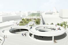 Image 3 of 15 from gallery of HHF Architects Transform Existing Parking Structure into Public Destination. Courtesy of HHF Architecture Concept Diagram, Futuristic Architecture, Facade Architecture, School Architecture, Circular Buildings, Parking Building, Plaza Design, Hotel Concept, Bali