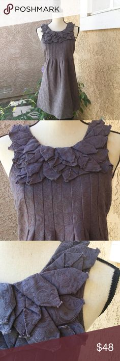Kimchi Blue Sleeveless Purple Dress Unique S EUC 🍃 This dress is simple, yet stunning and so different!! Pleats front and back. Leaf or floral design around the neckline has raw edges. Back zip. Reminds me of a type of brocade or jacquard print. It's a very muted purple, at times almost looks like a dark gray. Fabric is fairly thick.  Fabric-cotton and rayon Condition-Excellent, only worn a few times Non-smoking home Wedding, cruise, party, midi, modest, bridal shower, mother of bride or…
