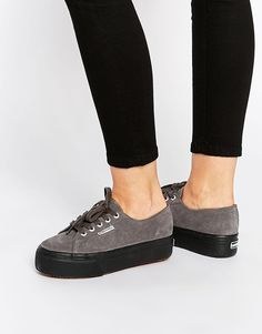 Superga 2790 Grey Suede Flatform Trainers