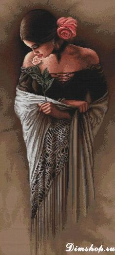 Cross Stitch Kit Spanish Lady with Rose Counted Cross Stitch Luca-S Hand embroidery Women Cross Stitch kits Flower embroidery Easy Pattern - Ukraine Flowers Delivery Embroidery Kits, Cross Stitch Embroidery, Cross Stitch Patterns, Flower Embroidery, Tapestry Kits, Spanish Woman, Cross Stitch Rose, Counted Cross Stitch Kits, Cross Stitching