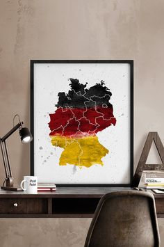 German map Art Print Watercolor map German flag by iPrintPoster