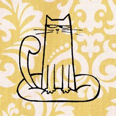 Cat Stamp: Wood Mounted Cat Rubber Stamp by CherryBeamCreations on Etsy