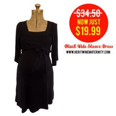 Black Wide Sleeve Maternity Dress Super Sale! Get it at Heritwine Maternity.