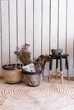 Dise/ño /Étnico//Boho Hogar y Mas Cesta Mimbre de Almacenaje//Decorativa Blanca Set de 3 cestas en Diferentes tama/ños