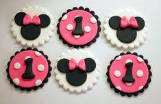 12 Toppers de Cupcake de Fondant de Minnie por HotMamasCakeToppers