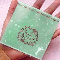 Kawaii BONJOUR Clear Gift Bags 20 pcs / Light by MiniatureSweet