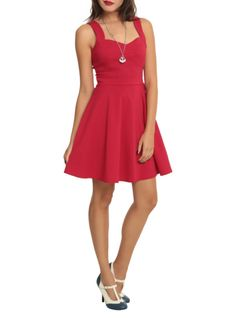 Red+swing+dress+with+a+sweetheart+neckline+and+waistband+tie.+Back+zipper+closure.