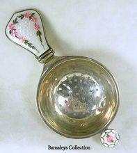 Vintage Sterling Silver Enamel Guilloche Tea Strainer
