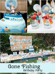 Gone Fishing Birthday Party - Pretty My Party #fishing #party #ideas