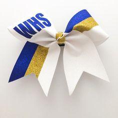 Glitter Stripe Team Monogram Custom Cheer Blue by Arrowandbowss