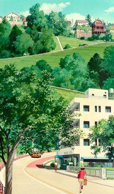"ghibli-collector: ""Spirited Away Hayao Miyazaki Vs. Whisper of the Heart Yoshifumi Kondo "" Studio Ghibli Background, Animation Background, Studio Ghibli Art, Studio Ghibli Movies, Hayao Miyazaki, Japon Illustration, Castle In The Sky, Howls Moving Castle, Scenery Wallpaper"