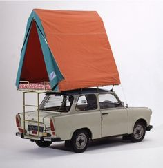 design-is-fine: Gerhard Müller, Trabant & Roof Tent, German Democratic Republic. Collection of the German History Museum, Berlin. Top Tents, Roof Top Tent, Porsche 911 997, Bushcraft, East German Car, Roof Ladder, Volkswagen, Camper Caravan, East Germany