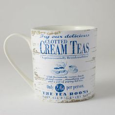 Retro Shabby Nautical Seaside Beach Mug Martin Wiscombe Clotted Cream Teas